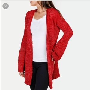 ALLISON BRiTTNEY red bell sleeve cardigan